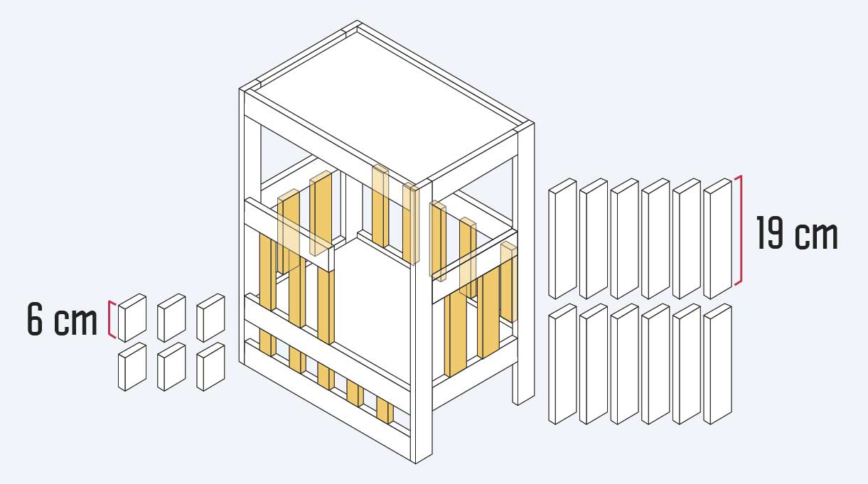 """dimensionar la madera de 1 x 2"""" en 12 cortes de 19 cm y 6 cortes de 6 cm para hacer los verticales de las barandas y las terminaciones"""