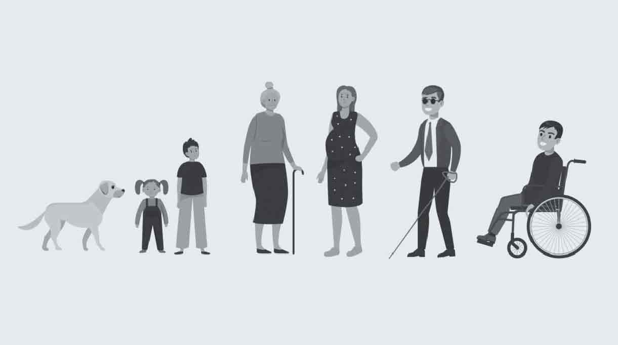 niños, adulto mayor, personas con discapacidades, mujer embarazada y un perro