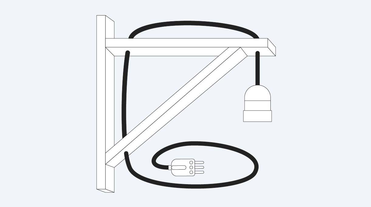 cable eléctrico con soquete y enchufe macho instalado en la lámpara escuadra