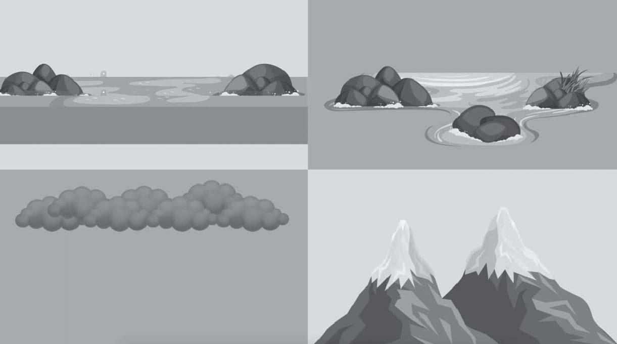 curso de agua, nubes negras y y cima de montañas