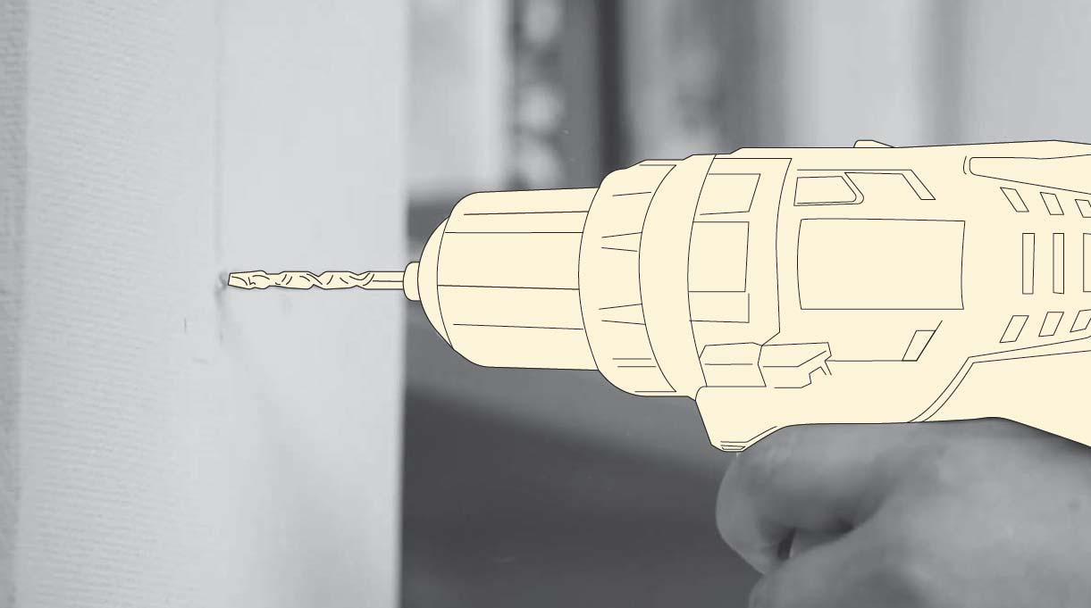 perforar el muro con un taladro para fijar la lámpara