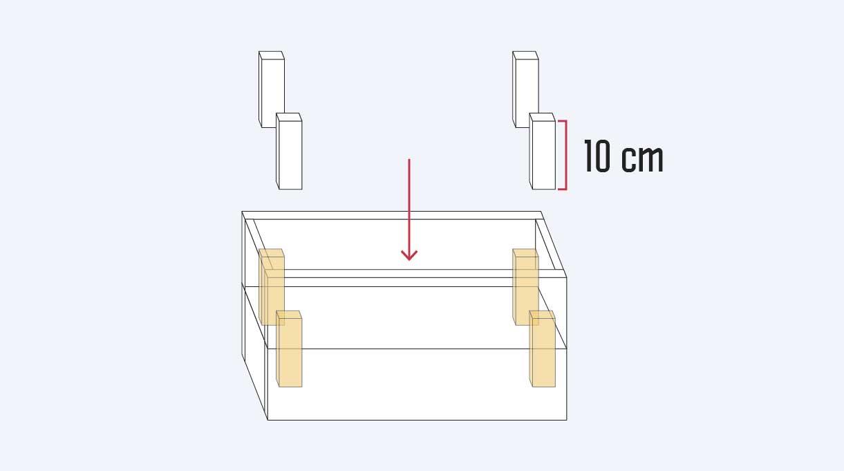 instalar los 4 soportes de 10 en el cajón