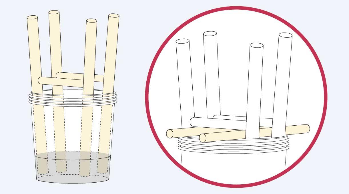levantar los travesaños colocando debajo un trozo de madera de 2 cm de alto