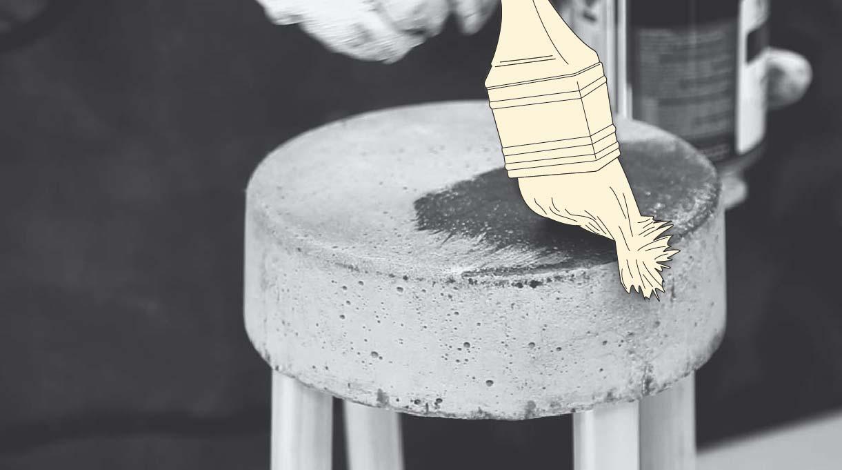 vitrificar el cemento con una brocha