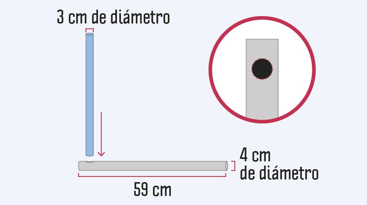 unir el tubo de 30 mm de diámetro con el de 40 mm