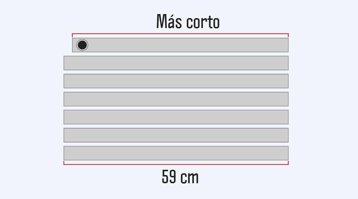 cortar 6 tubos de PVC de 59 cm y uno de 57 cm