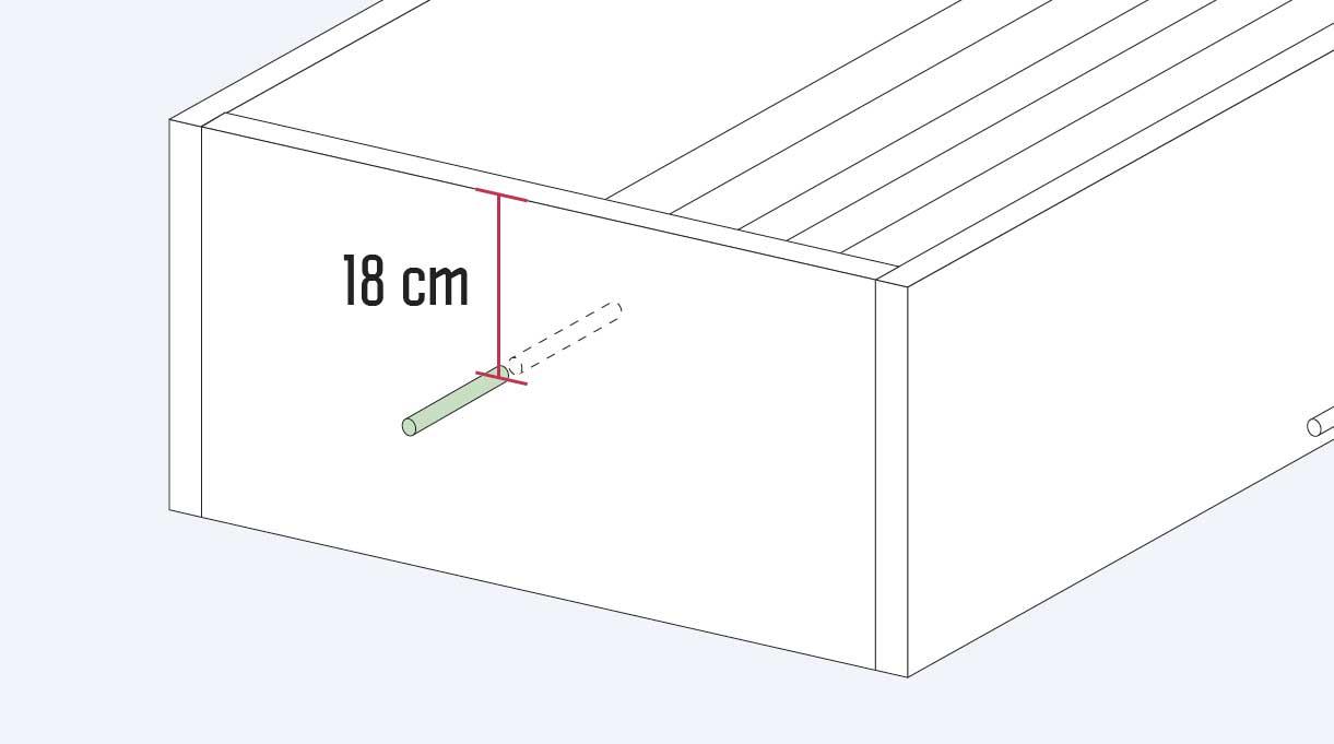 medir 18 cm desde la parte superior del cajón hacia abajo