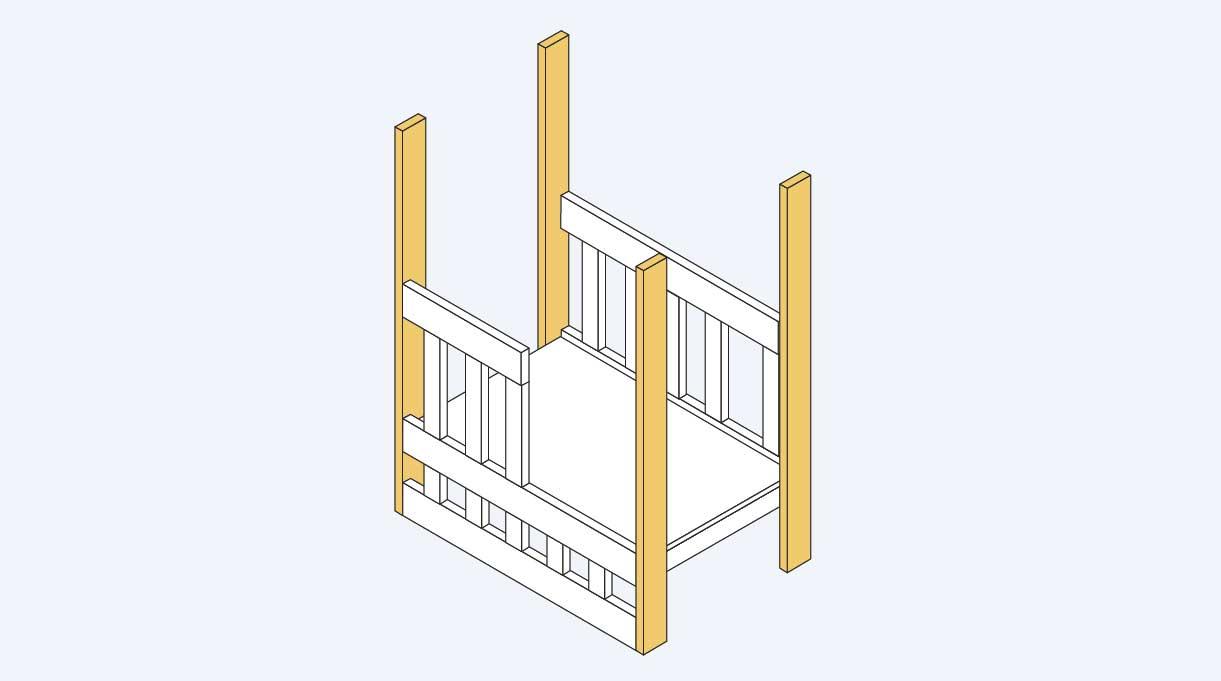 instalar las patas en la estructura