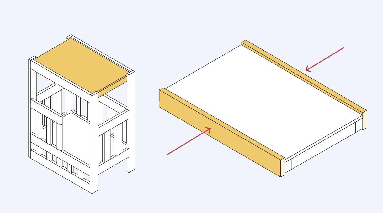 unir la tabla trasera y frontal a la bandeja superior del velador