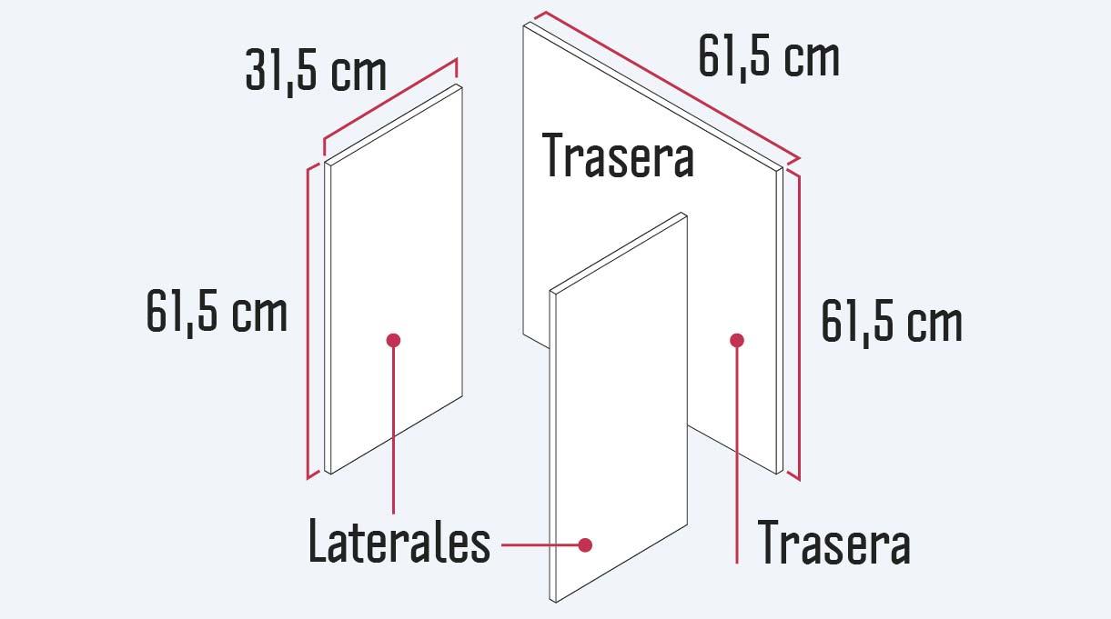 piezas traseras y laterales del mueble organizador con sus respectivas medidas