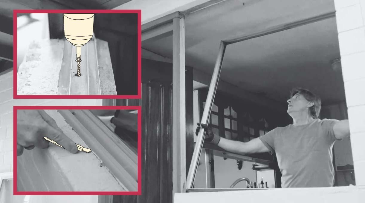 quitar los cordones de silicona y los tornillos de la ventana antigua
