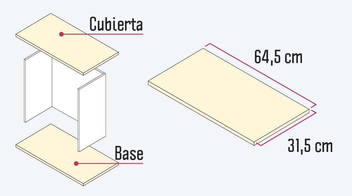 medidas de la cubierta y la base del mueble organizador