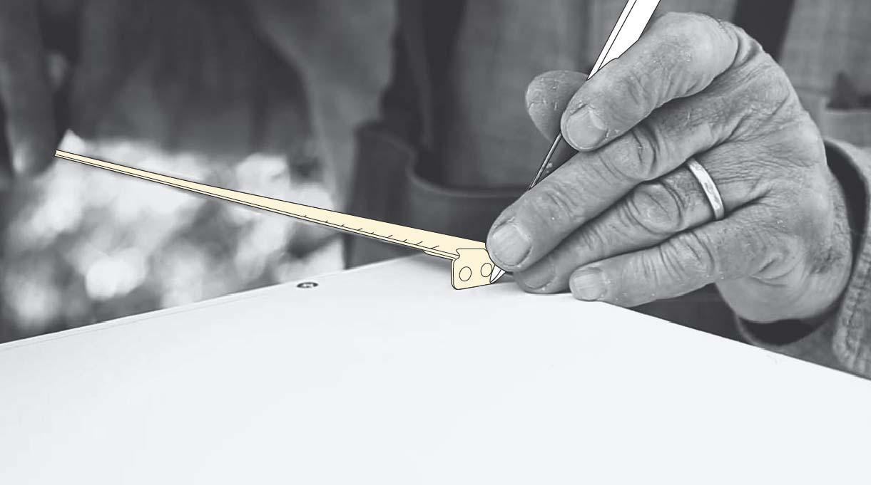 medir y marcar la madera a 6 cm desde cada borde