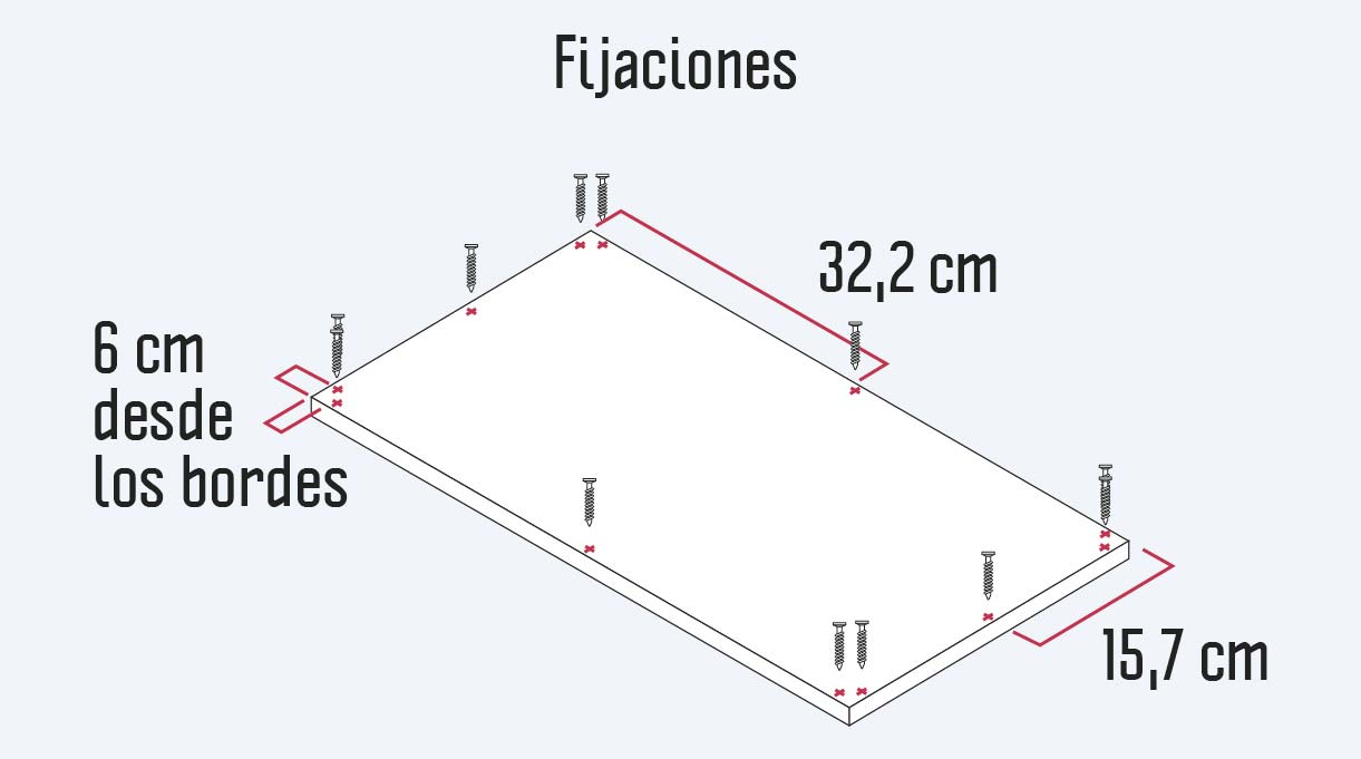 fijaciones para unir los laterales y la trasera con la cubierta y la base