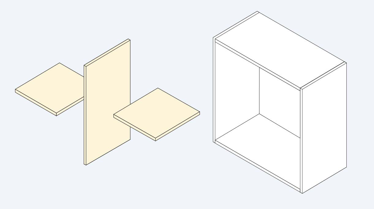 divisiones internas del mueble organizador