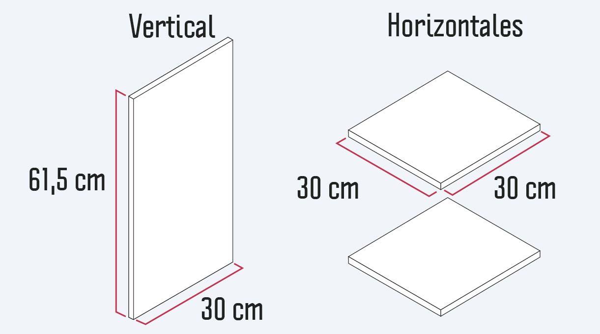 tablas horizontales y vertical del mueble organizador