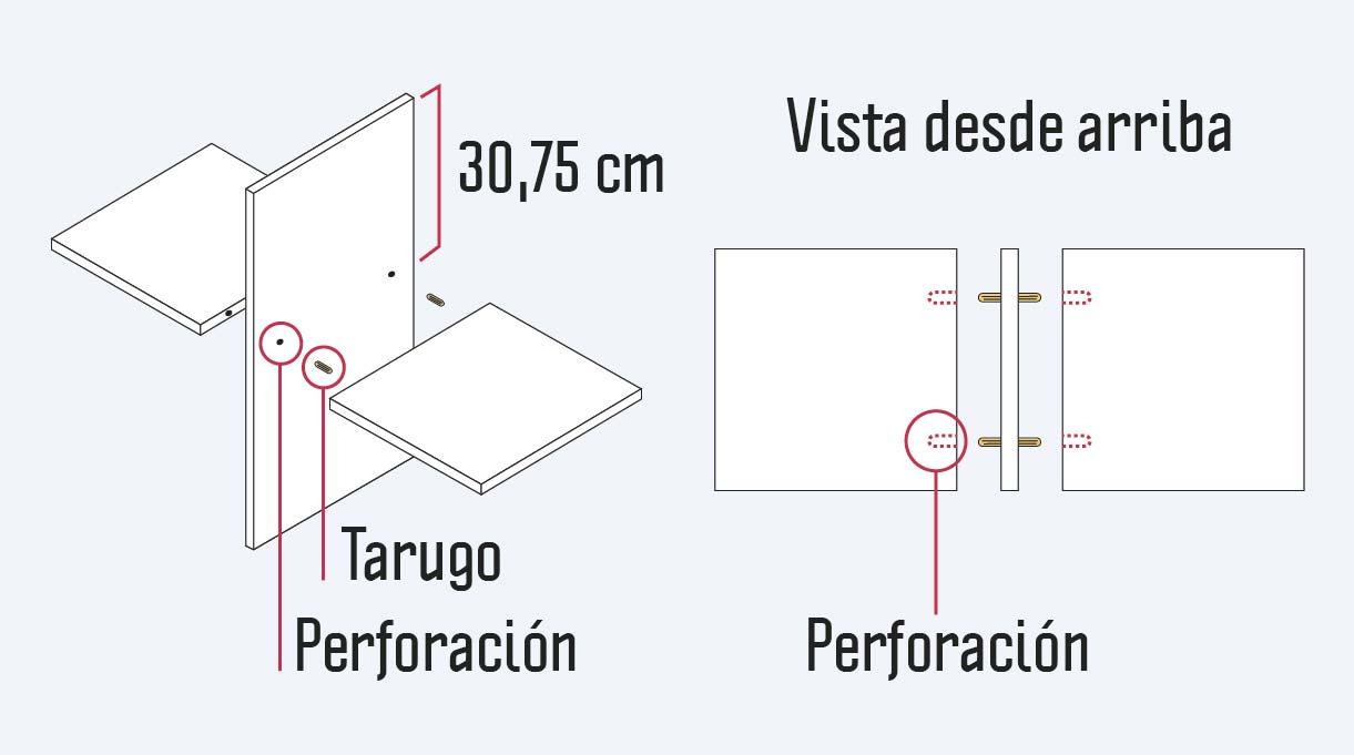 perforaciones a hacer en los laterales y vertical