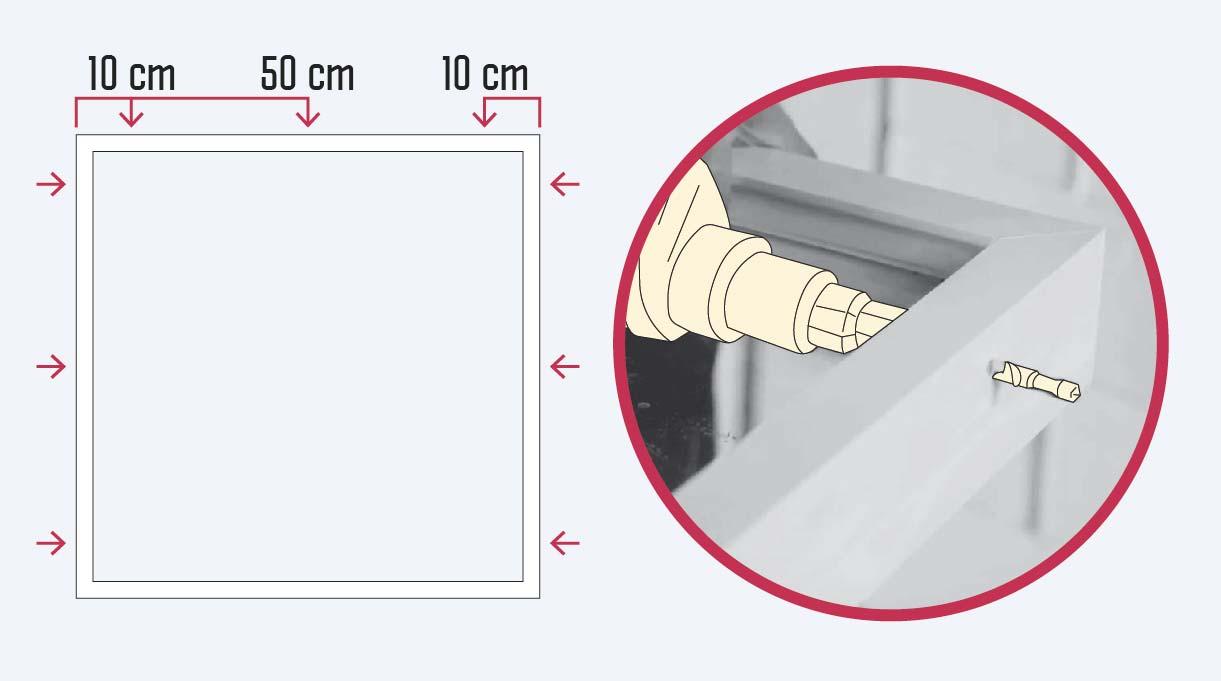 Perforar el marco a 10 cm desde los extremos y luego a 50 cm entre sí, desde el vértice superior