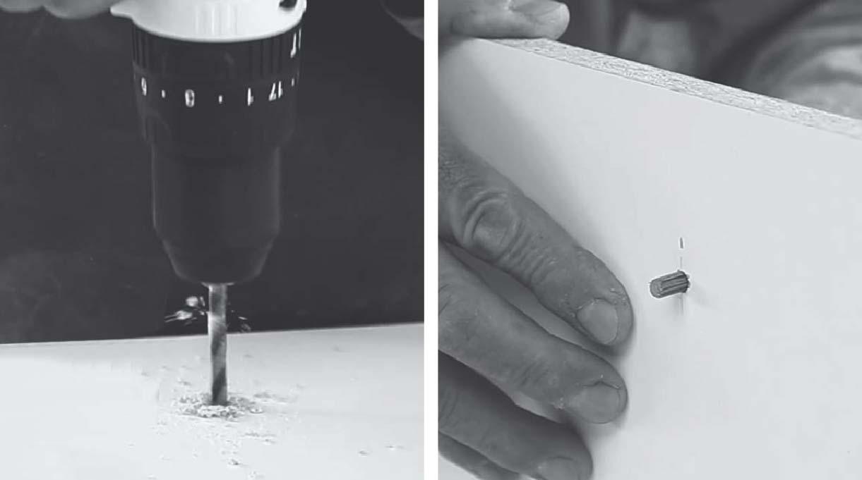perforar en la marca e introducir tarugo estriado