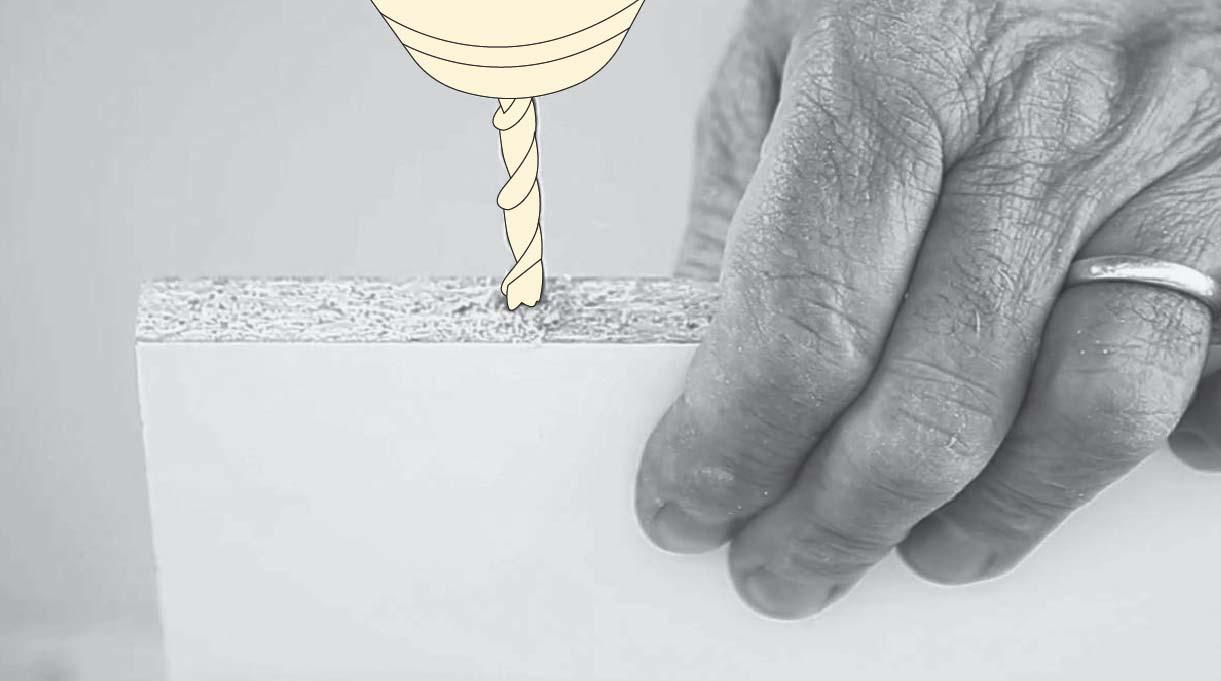 Perforar los horizontales a 6 cm de cada borde, por el canto y en uno de sus lados no enchapados.