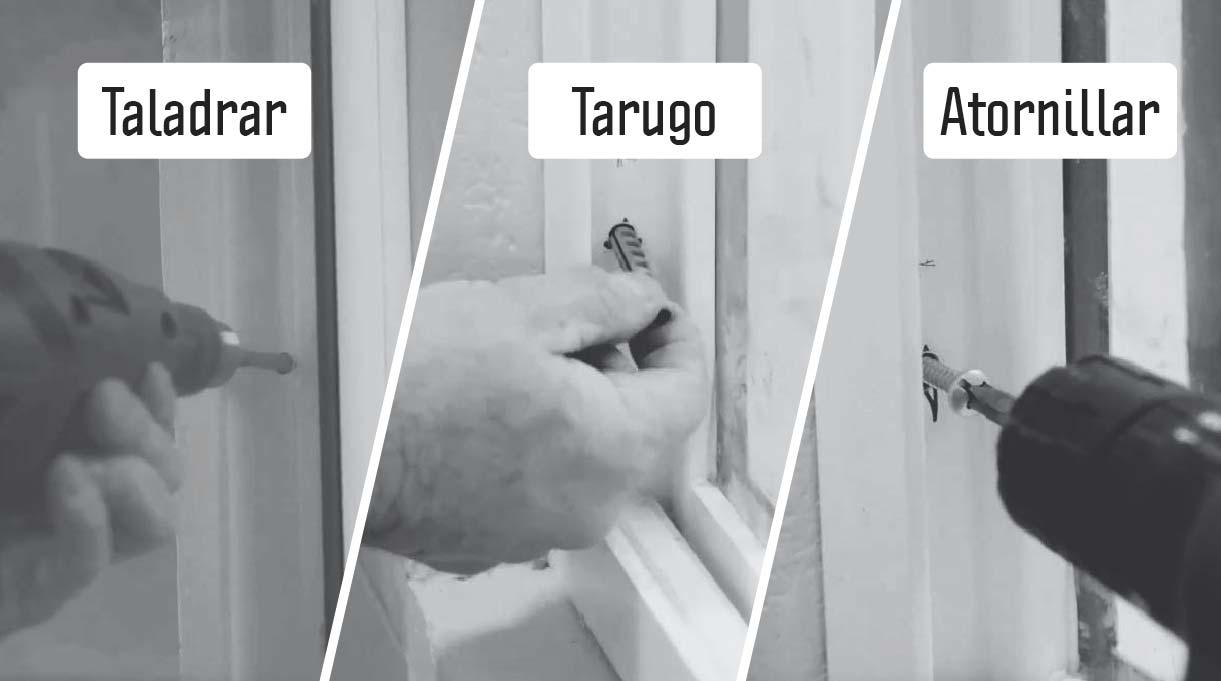 instala la ventana primero taladrando, luego colocando el tarugo y finalmente atornillando