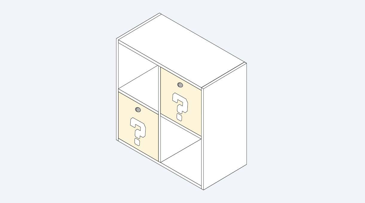mueble organizador con cajones y repisas