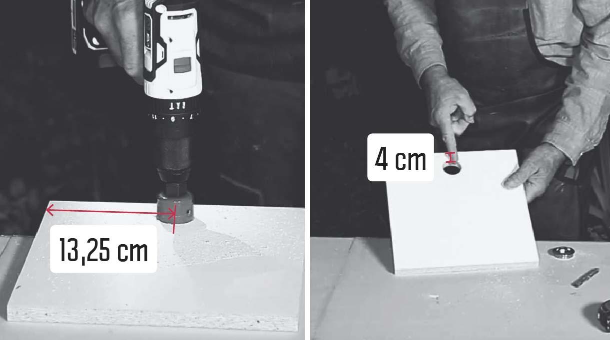 Marcar y perforar con la broca copa de 38 mm en la mitad del frontal, es decir, a 13,25 cm y a 4 cm del borde superior