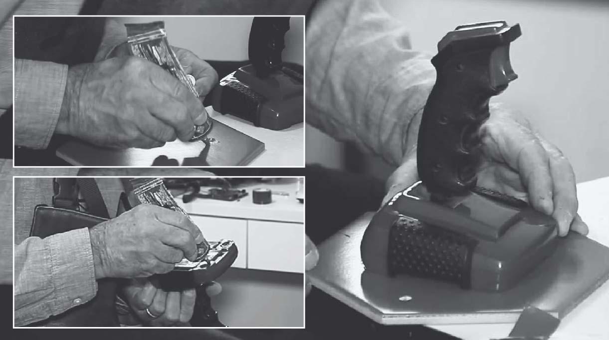 Colocar neoprén tanto en la base del joystick como en la cerámica, despegar la cinta doble contacto y fijar el joystick a la palmeta