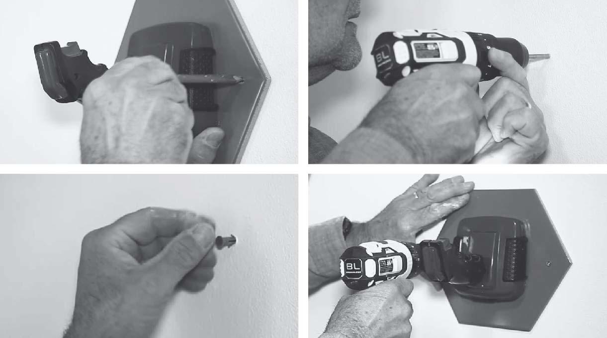 marcar en el muro donde van las perforaciones para instalar el joystick, perforar con el taladro, colocar tarugos y tornillos