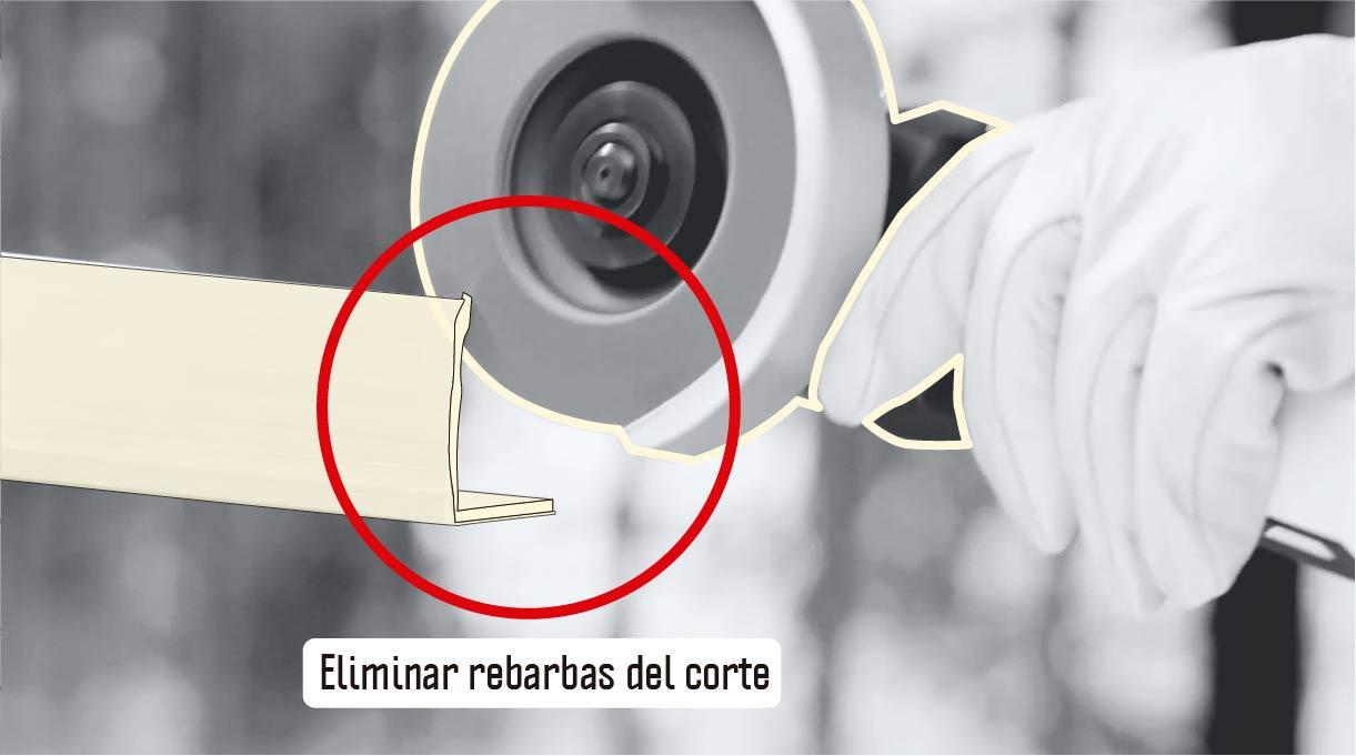 eliminar rebarbas del corte con un disco de traslape