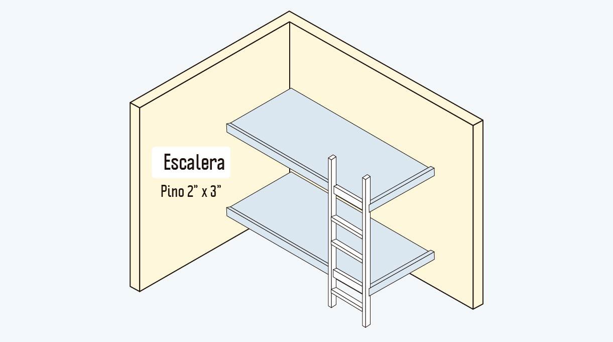 escalera de pino de 2 x 3