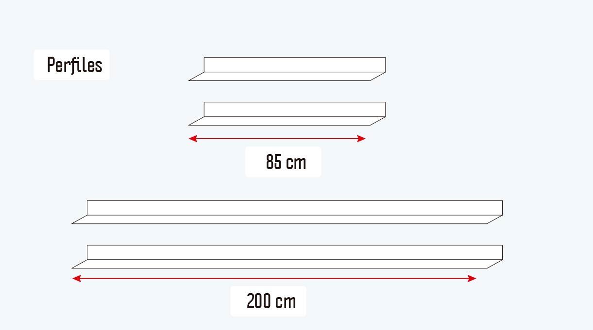 cortar los perfiles en dos trozos de 85 cm y dos de 200 cm
