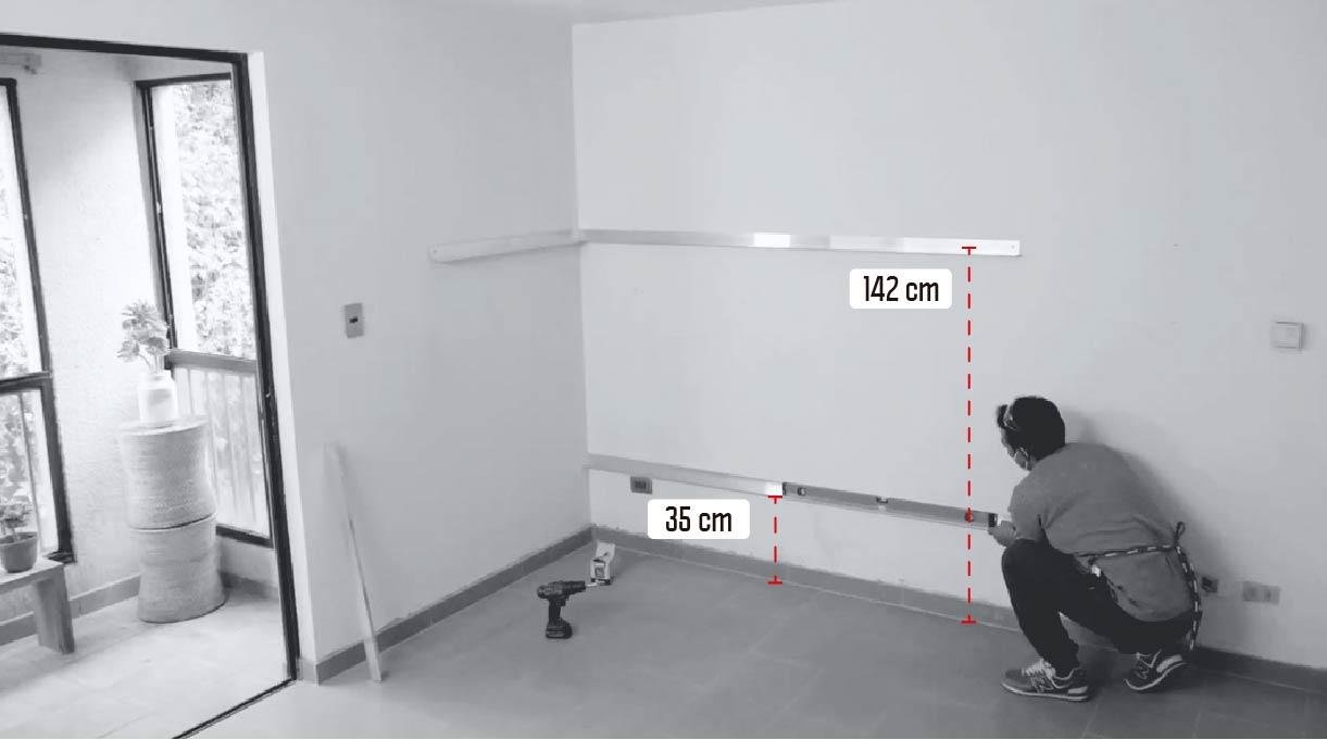 instalar los perfiles en el muro a 142 cm y a 35 cm del del piso
