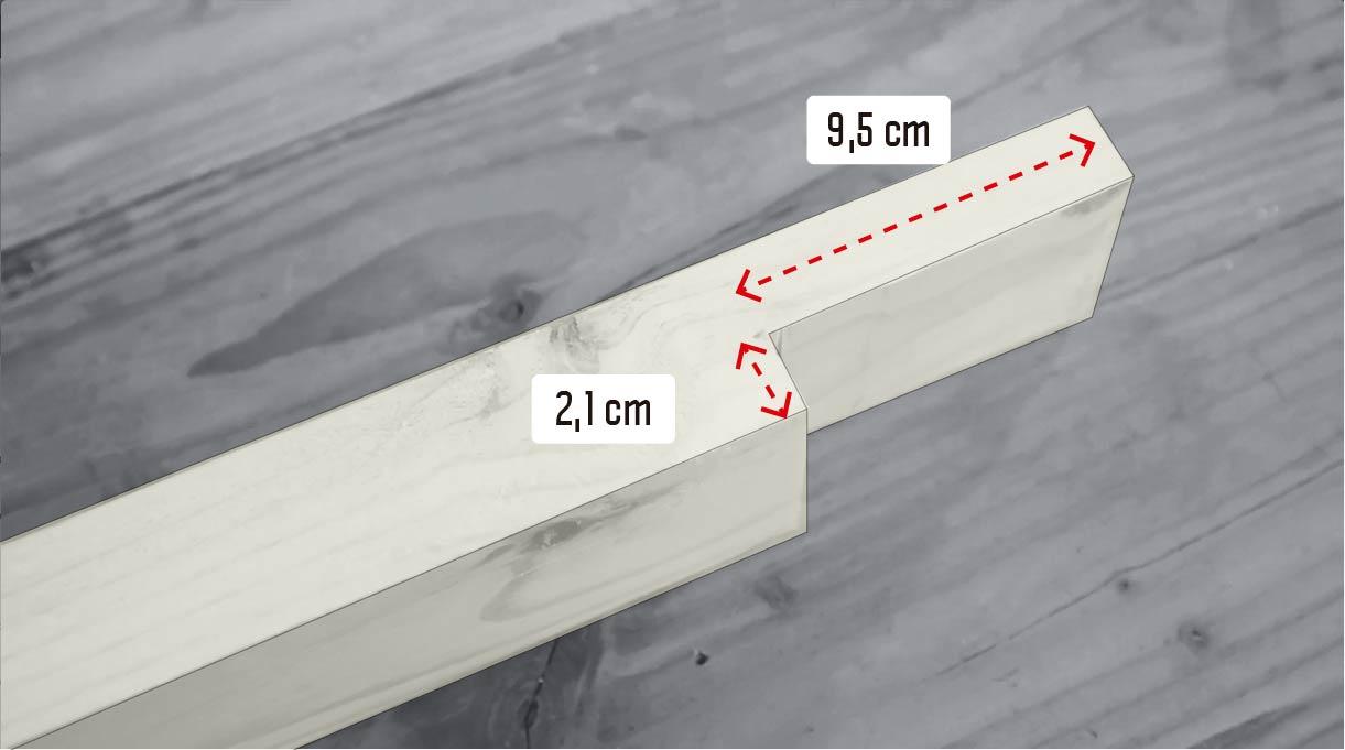 hacer un calado en el trozo de 37,5 cm con la sierra caladora