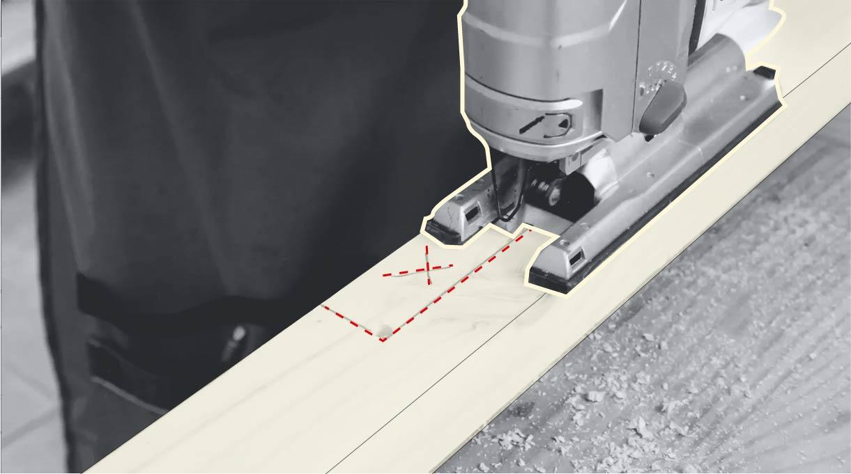 hacer un calado con la sierra caladora a los 2 trozos de 184 cm