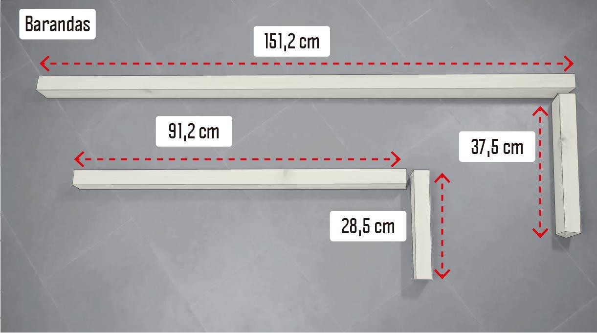 cortar las maderas para las barandas en un trozo de 151,2 cm, uno de 91,2, otro de 37,5 y uno de 28,5 cm