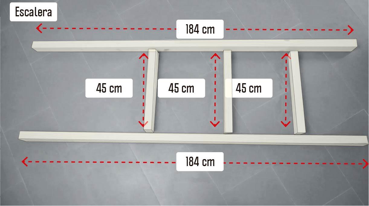 cortar las maderas para hacer la escalera en 2 trozos de 184 cm y 3 de 45 cm