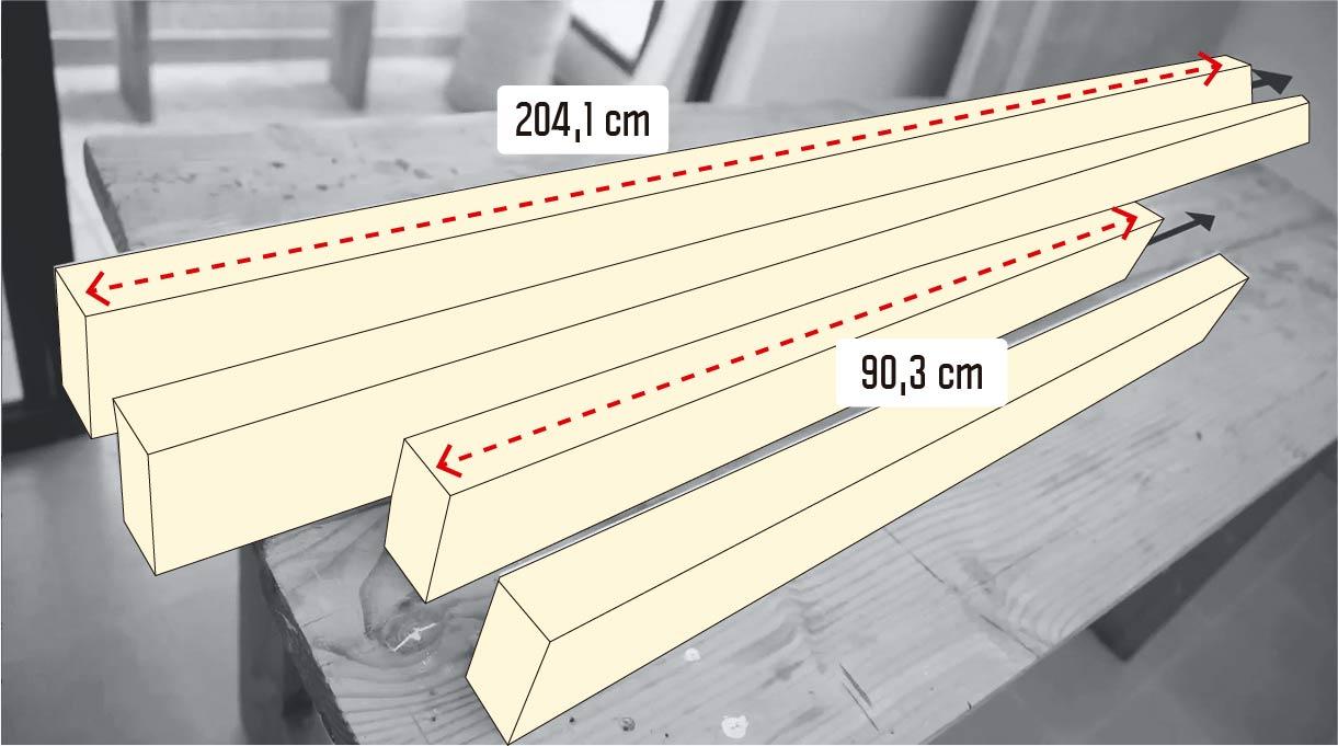 cortar el pino cepillado en 2 trozos de 204,1 cm y dos de 90,3 cm