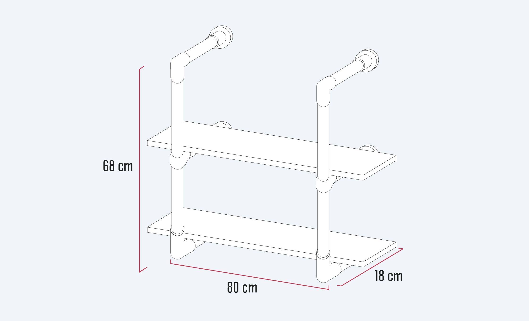 repisa de cocina de 80 cm de ancho, 18 cm de fondo y 68 cm de alto
