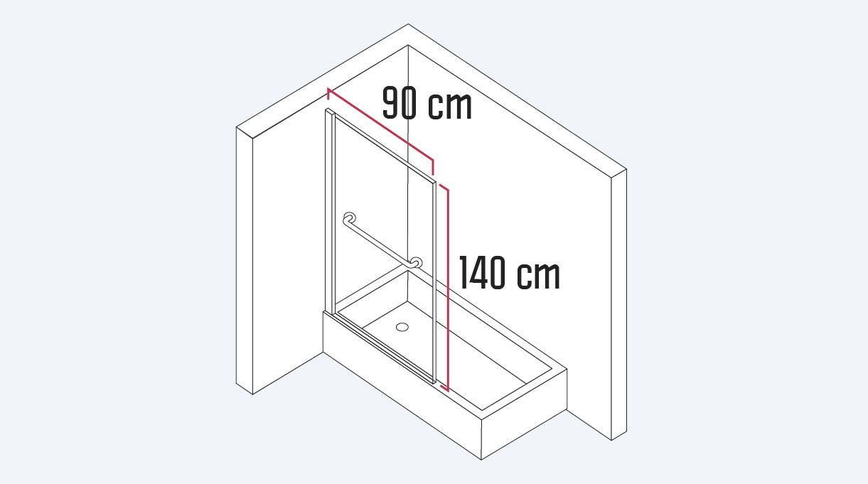 mampara de vidrio para ducha mide 140 cm de alto y 90 de largo