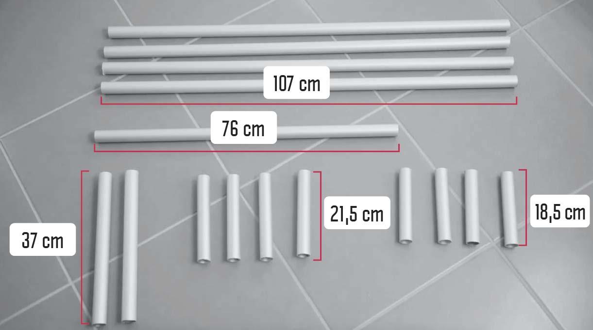 cortar 4 tubos de aluminio de 107 cm, uno de 76, dos de 37, 4 de 21,5 y 4 de 18,5 cm