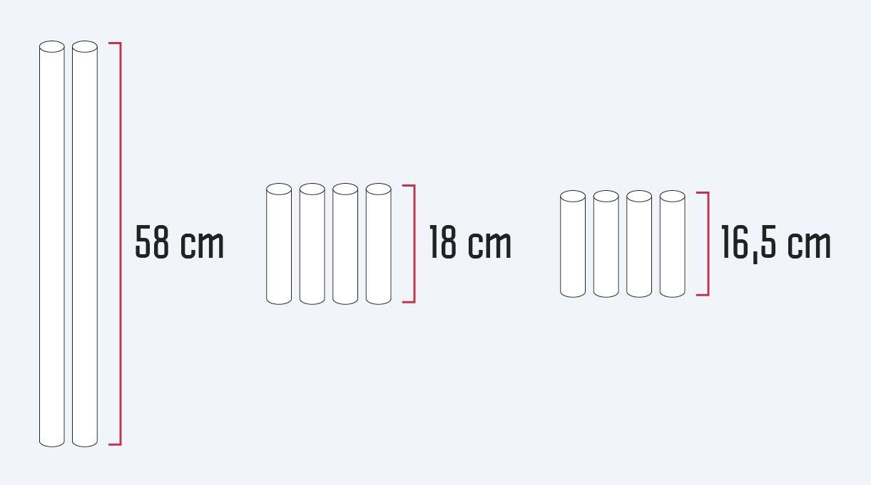 2 trozos de 58 cm para los verticales, 4 de 18 cm para los horizontales de los extremos y 2 de 16,5 cm para los horizontales del centro