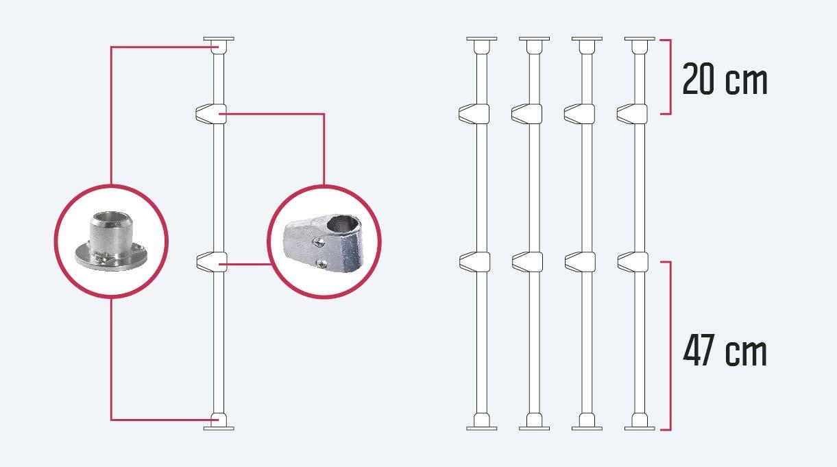Fijar las uniones a 20 cm al eje desde el borde superior y a 47 cm desde el inferior