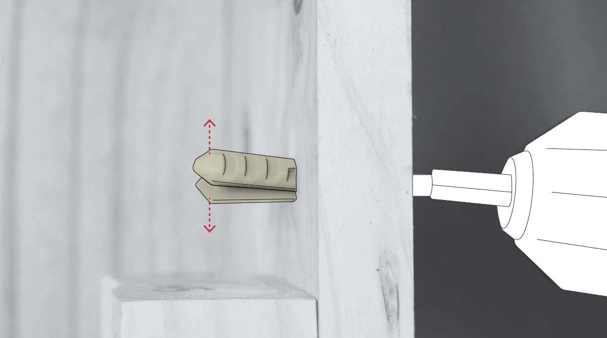 tarugo nylon expandido al entrar en el muro