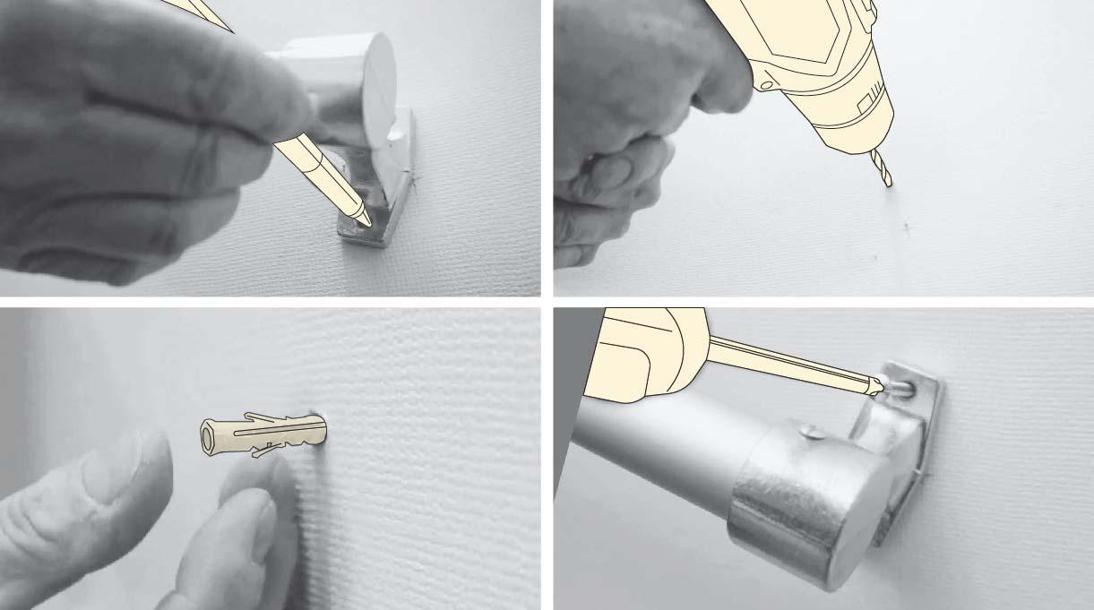 Marcar en el muro los agujeros que trae el pasamanos y perforar con la broca para concreto. Poner el tarugo y finalmente atornillar