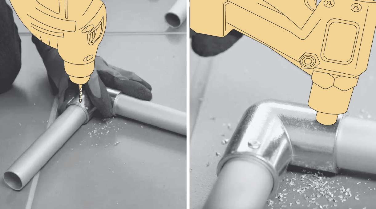 Hacer los agujeros con el taladro y fijar con la remachadora y los remaches pop