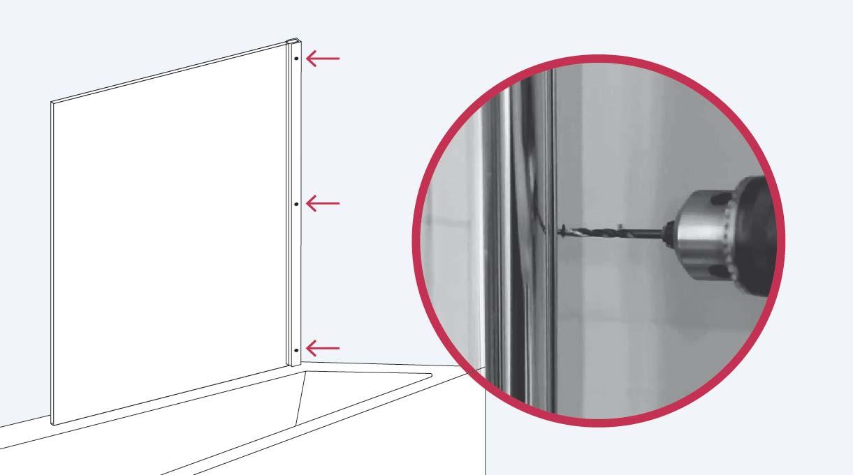 Haz los agujeros para instalar el vidrio con la broca para metales de 3 mm en la estructura que sujeta la mampara