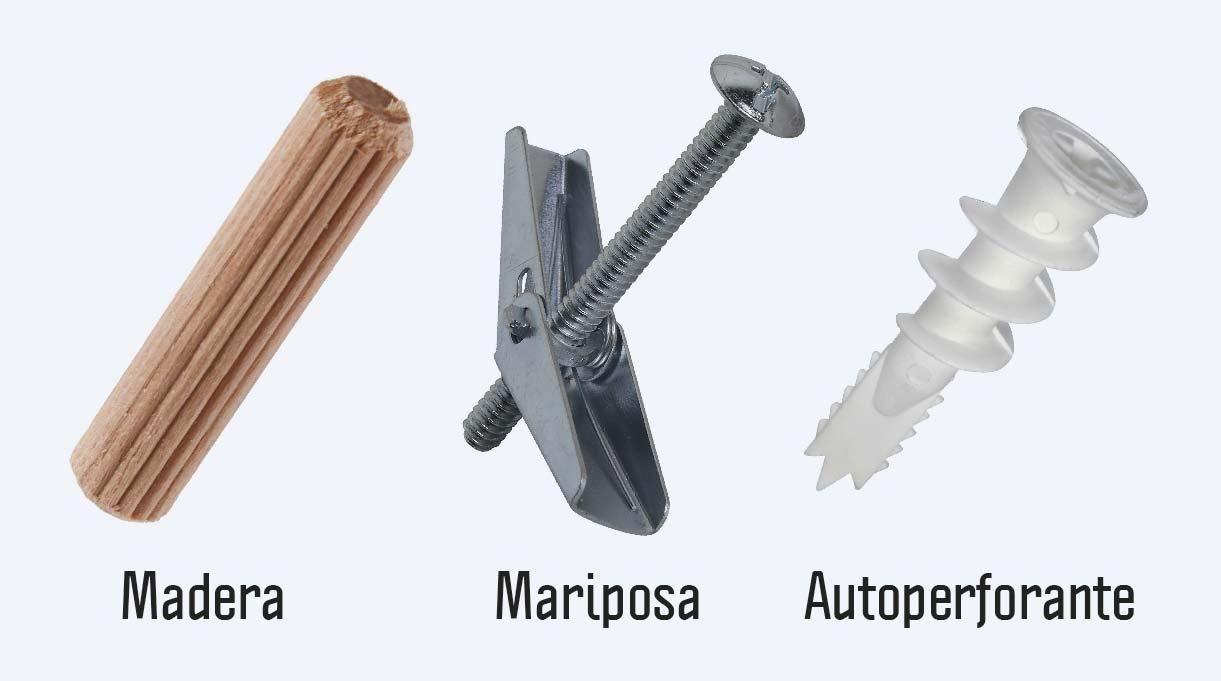 tarugo madera, tarugo mariposa y tarugo autoperforante