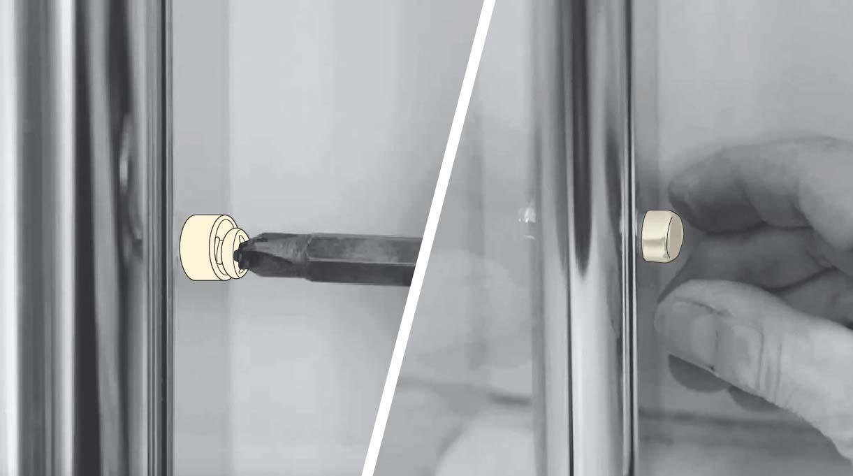 Fija con una golilla y tornillo cada agujero y adhiérelos con el gorro de aluminio para terminar de instalar el vidrio