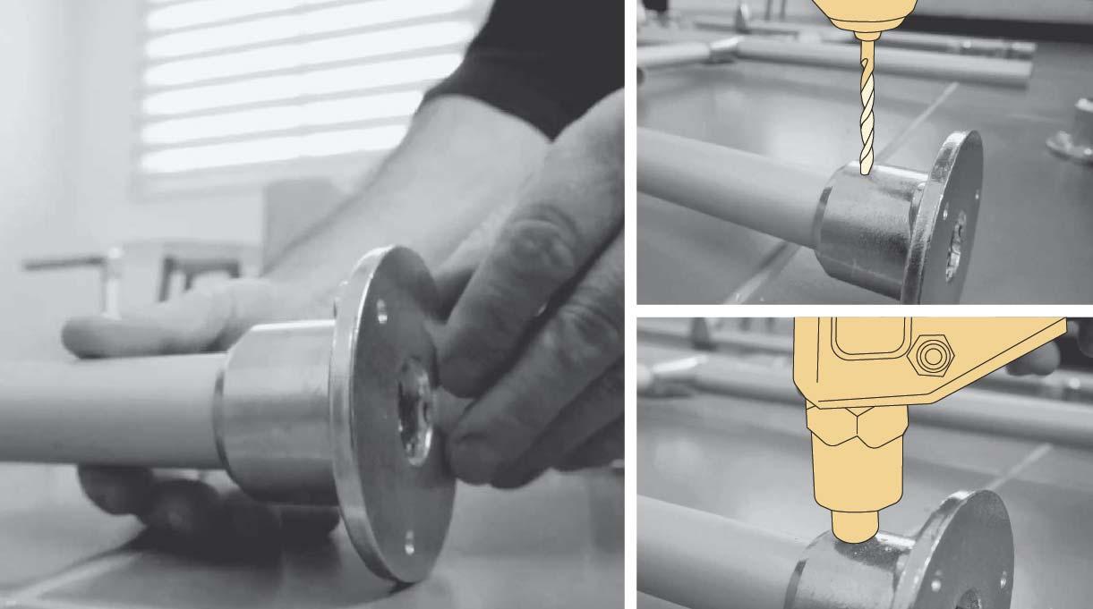 Fijar con remache pop las bases en cada uno de los extremos de los tubos